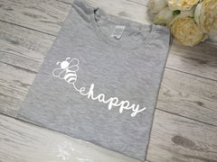 Custom Women's Grey t-shirt Bee happy with choice of colour detail
