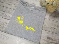 Custom Women's Grey t-shirt Bee You with choice of colour detail