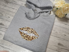 Personalised Womens Grey hoodie with Leopard lips and Name detail In choice of colours  No pocket