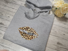 Personalised Womens Grey Welsh hoodie with Leopard lips and Name detail In choice of colours  No pocket