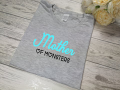 Personalised Women's Grey t-shirt Mummy of boys / girls / monsters with choice of colour detail
