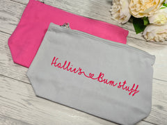 Personalised pink or grey canvas Large Baby bum stuff Accessory pouch bag add a name
