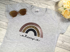 Personalised Women's Grey t-shirt with Rainbow Any Name or phrase