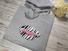 Personalised Womens Grey hoodie with zebra lips and Name detail In choice of colours  No pocket
