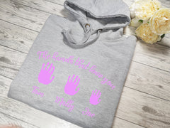 Personalised Womens GREY hoodie with Children's handprints detail In choice of colours