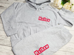 Personalised Welsh KIDS loungewear set Grey hoodie and joggers set with name detail