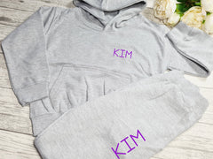 Personalised  KIDS loungewear set Grey hoodie and joggers set with name detail