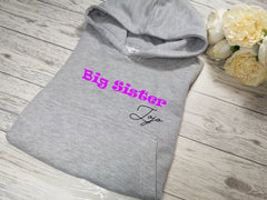 Personalised Kids Grey hoodie with Big sister name detail