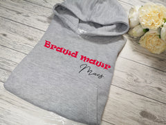 Personalised Kids Grey hoodie with Brawd mawr name detail