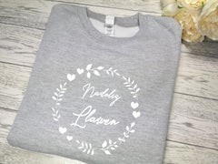 Custom Unisex WELSH GREY Christmas jumper Nadolig llawen circle detail