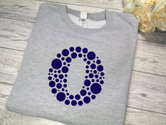 Personalised KIDS GREY Dot letter detail jumper in a choice of colour detail