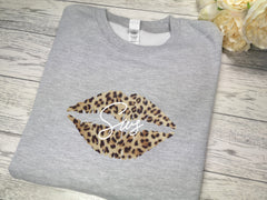 Personalised Welsh KIDS GREY Lips Sws jumper  in a choice of colour detail