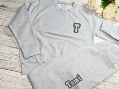Personalised  KIDS loungewear set Grey Jumper and joggers set with name detail
