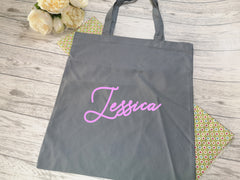 Personalised Grey Tote bag with Name detail in a choice of colours