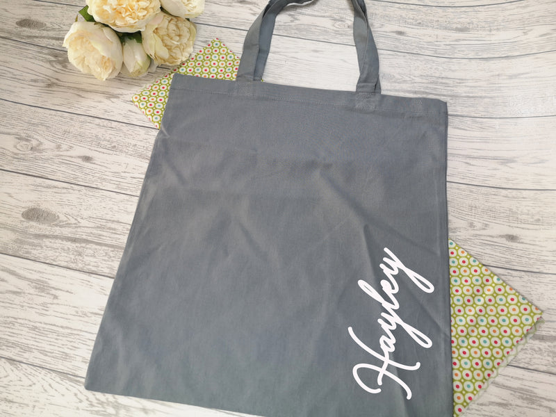 Personalised Grey Tote bag with side Name detail in a choice of colours