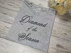 Custom Women's GREY Diamond of the season t-shirt  with choice of colour detail