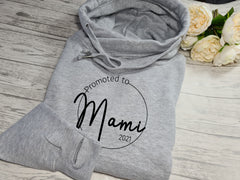 Personalised unisex heather GREY cross neck hoodie Promoted to Mum new Mam