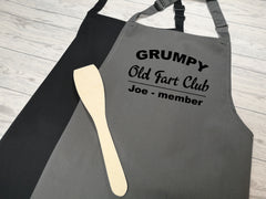 Personalised adult Grumpy old fart club name apron in grey or black