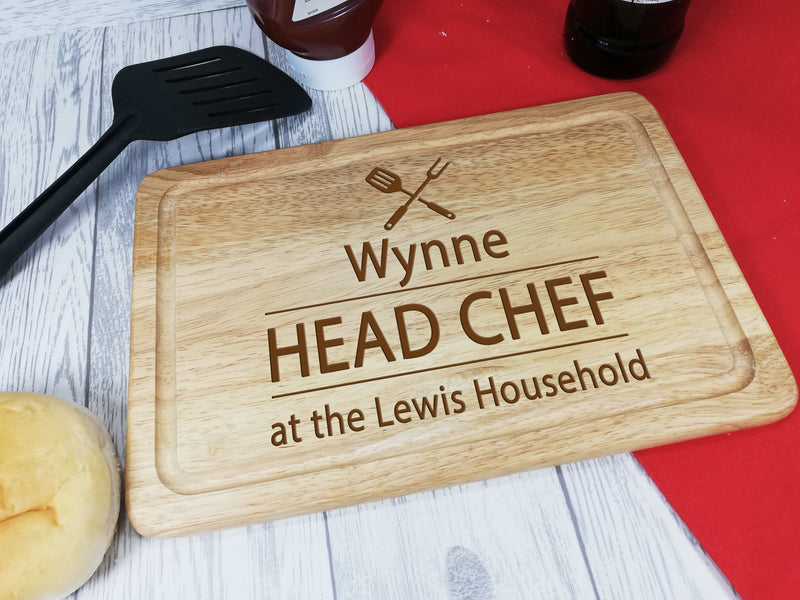 Personalised Engraved Wooden Chopping board Head Chef Any Name