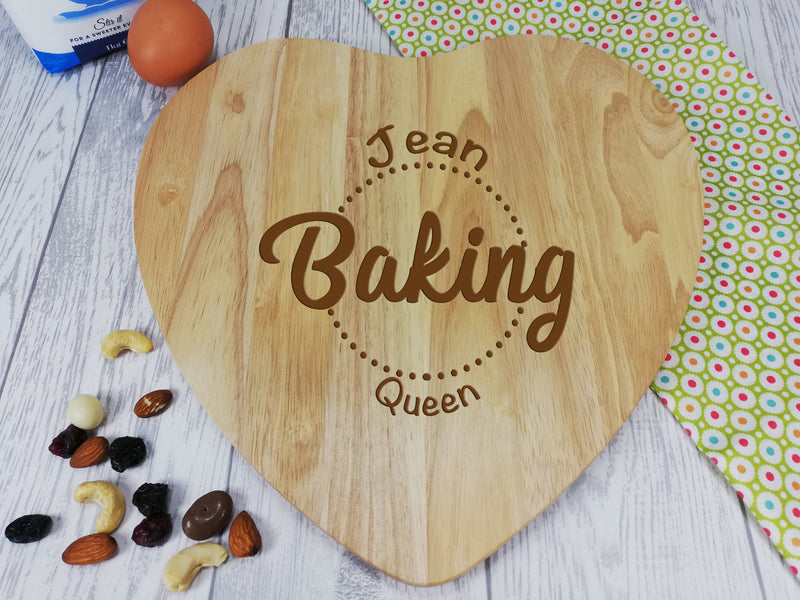 Personalised Engraved Wooden Heart Chopping board Baking Queen Gift Any Name