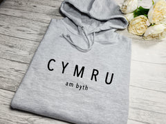 Custom welsh UNISEX Heather GREY hoodie with CYMRU am byth detail s