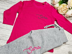Personalised BABY loungewear set hot pink t-shirt and Grey joggers with name detail