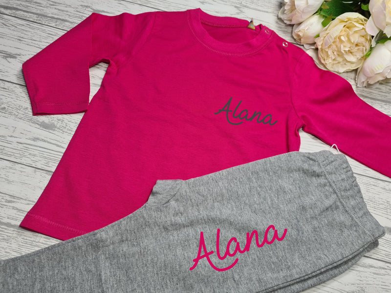 Personalised BABY loungewear set hot PINK t-shirt and grey leggings with fancy name detail