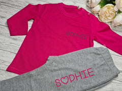 Personalised BABY loungewear set hot PINK t-shirt and grey leggings with name detail