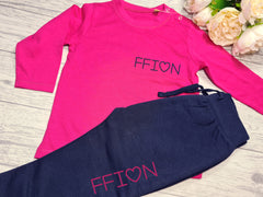 Personalised BABY loungewear set hot pink t-shirt and Navy joggers with name detail
