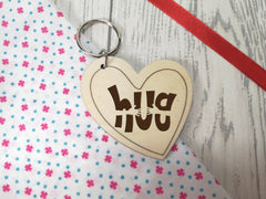 Personalised Wooden Heart Send a Hug Keyring