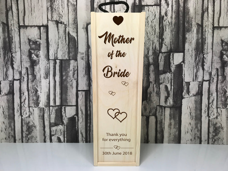 Personalised Mother of the Bride or Groom Wedding Single wine box
