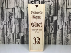 Personalised Welsh birthday Penblwydd hapus gift Single wine box 18th 21st 30th 40th 50th 60th