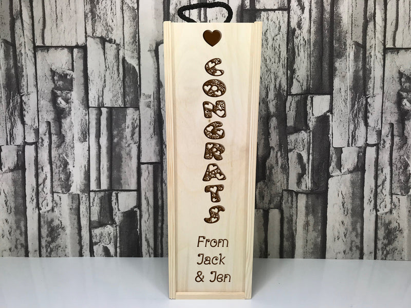 Personalised Congrats gift Single wine box Any message