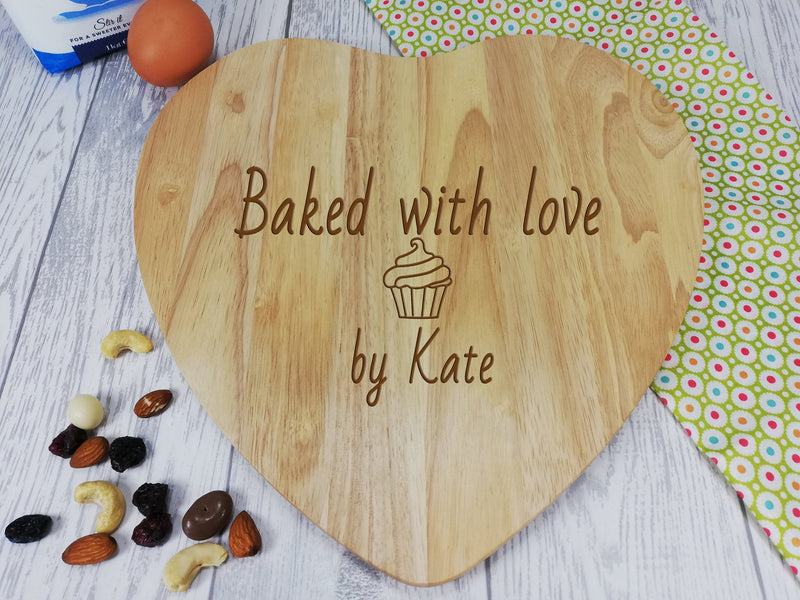 Personalised Engraved Wooden Heart Chopping board Baked with love Gift Any Name Date
