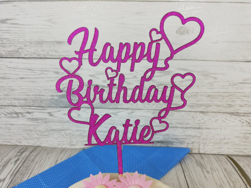 Personalised Wooden Glitter Happy Birthday Cake Topper Any Name Choice of colours
