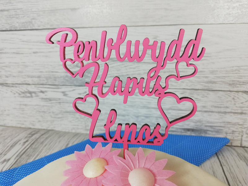 Personalised wooden Welsh Penblwydd hapus Birthday cake topper Any name