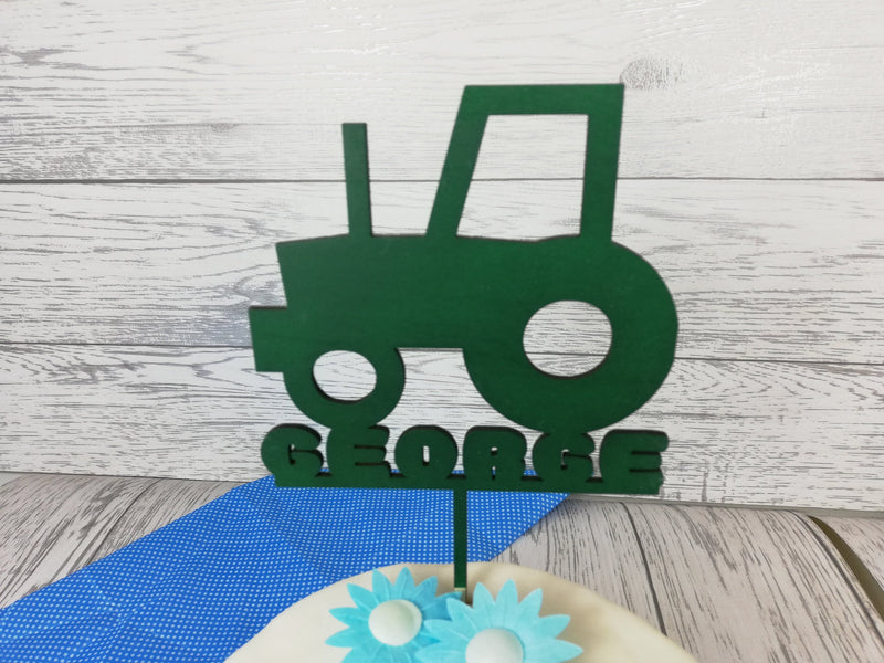 Personalised wooden birthday Tractor cake topper Farm Any name