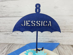 Personalised wooden birthday glitter Umbrella age cake topper Any name Any Age