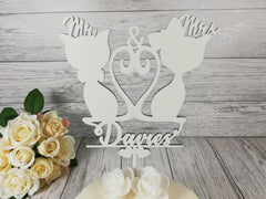 Personalised wooden wedding Mr & Mrs Cat cake topper Any Surname