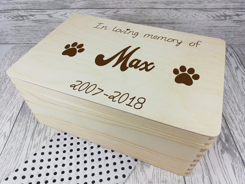 Personalised Wooden engraved Pets Remembrance box 30cm with handles Dog Cat Memory