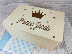 Personalised Prince Baby keepsakes Memory box 30cm with handles Any Name