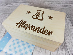 Personalised Letter Name Star Memory keepsake box 30cm with handles Any Name