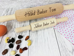 Personalised Engraved wooden Head & Junior Baker Large and Mini Rolling Pin Set Any names