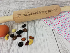 Personalised Engraved wooden baked with love Rolling Pin Any name