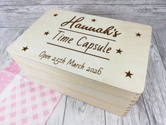 Personalised Time Capsule Girls Baby keepsakes Memory box 30cm with handles Any Name