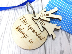 Personalised Wooden Circle with boy & girl figures Keyring This Dad belongs to.. Grandad