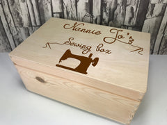 Personalised Engraved Sewing Box keepsakes Memory box 30cm with handles Any Name