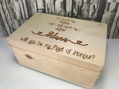 Personalised engraved Sister Maid of Honour keepsakes Memory box 30cm with handles Any Name