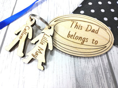 Personalised Wooden rugby ball with boy and girl figures Keyring This Dad belongs to.. Grandad