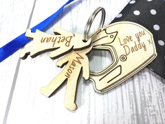 Personalised Wooden Bike Helmet with boy & girl figures Keyring Love you Daddy..